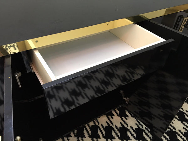Mid Century Black Lacquer and Brass Asian Credenza drawer