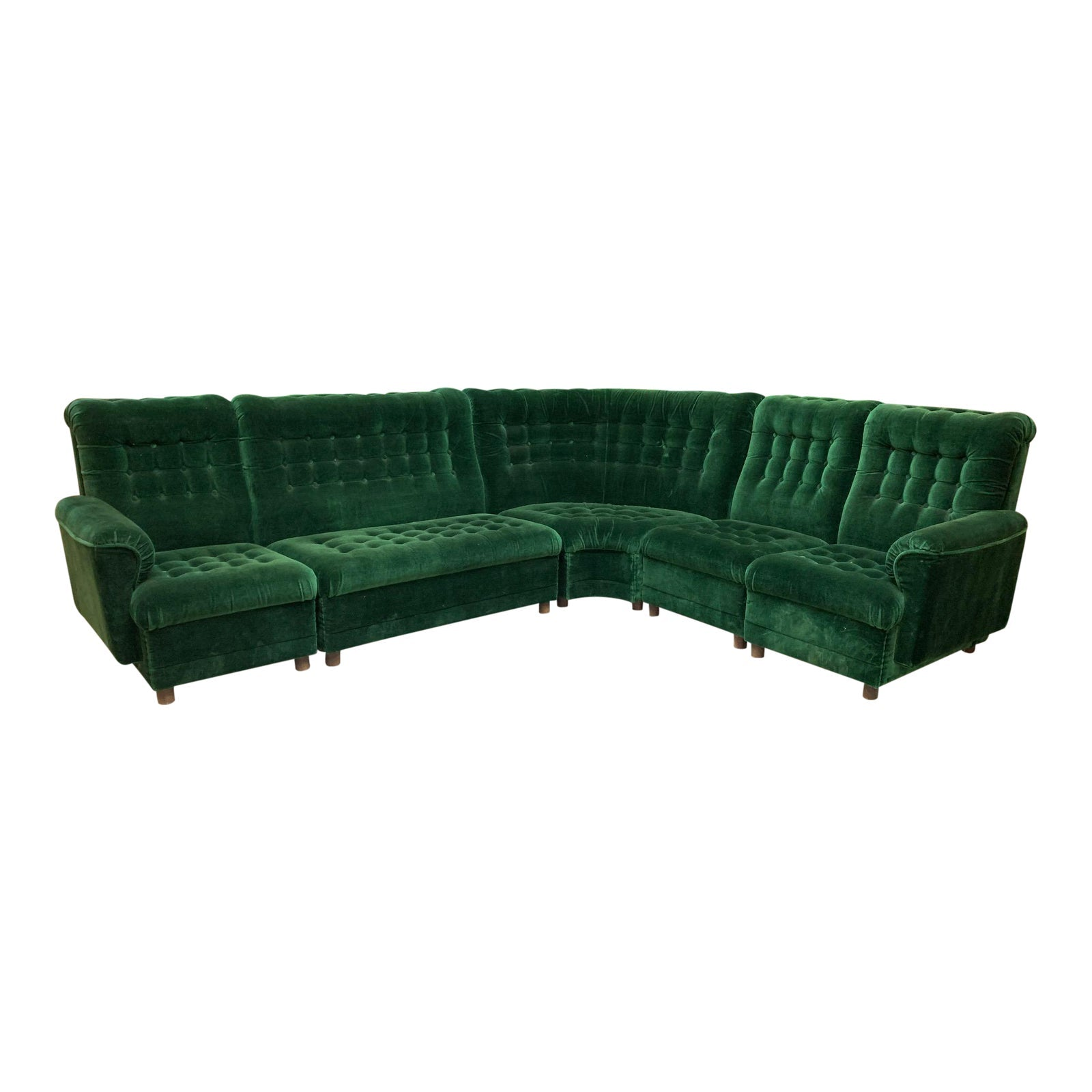 Mid Century Green Velvet Tufted Sectional Sofa