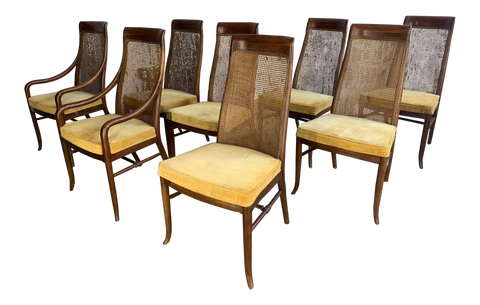 Mid-Century High Back Cane Dining Chairs by Drexel