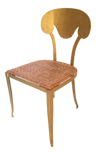 Mid Century Metal Gold Gilt Vanity Stool