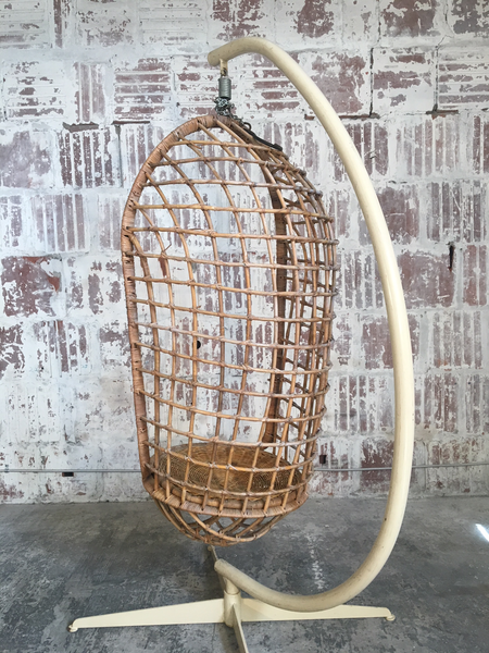Mid Century Rattan Hanging Pod Chair With Stand