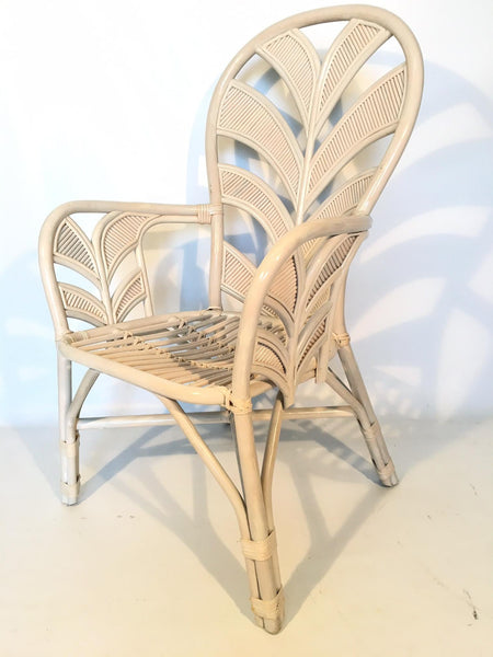 Mid Century Rattan Palm Tree Fan Back Chairs side view