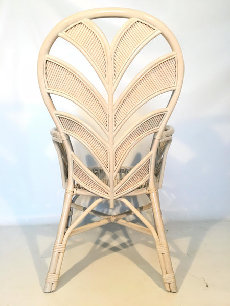 Mid Century Rattan Palm Tree Fan Back Chairs rear view