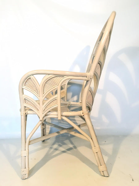 Mid Century Rattan Palm Tree Fan Back Chairs