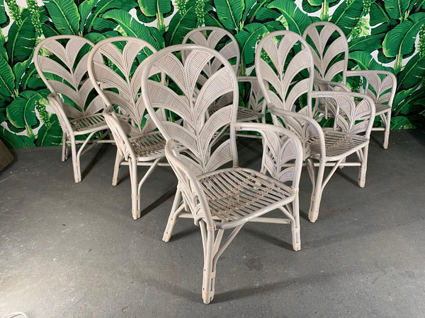 Mid Century Rattan Palm Tree Fan Back Chairs front view