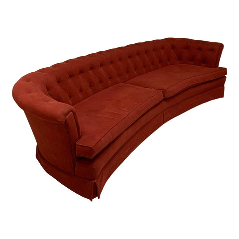 Mid Century Red Curved Tufted Sofa