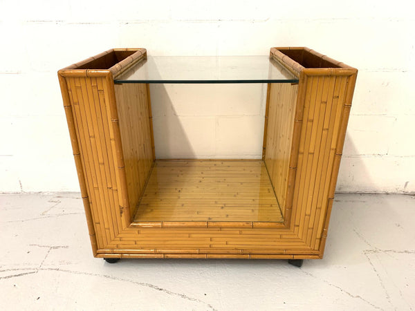 Mid Century Split Reed Rattan Bar Cart front view