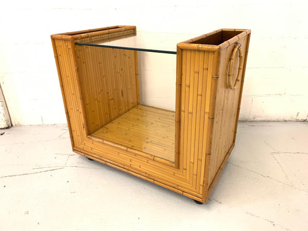 Mid Century Split Reed Rattan Bar Cart