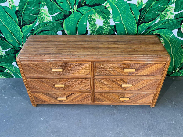 Mid Century Split Reed Rattan Dresser top view