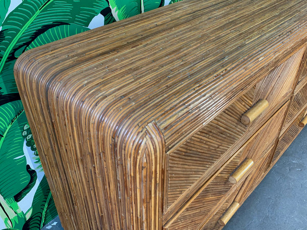 Mid Century Split Reed Rattan Dresser close up