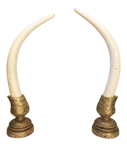 Pair of Monumental Decorative Faux Elephant Tusks