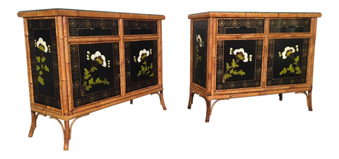 Asian Hand Painted Bamboo Cabinets