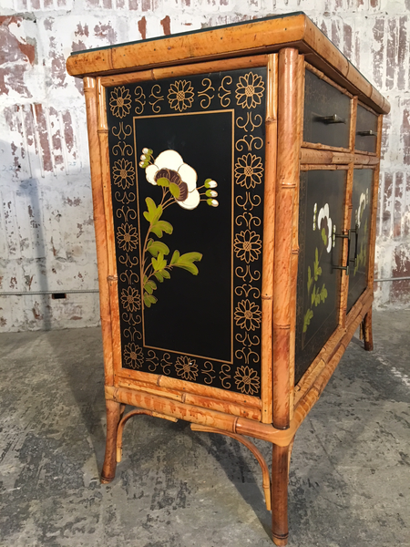 Pair of Asian Hand Painted Bamboo Cabinets Circa 1950s