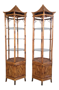 Pair of Bamboo Pagoda Etageres