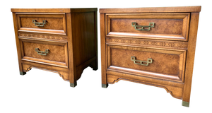 Pair of Burl Nightstands by Henry Link From the Mandarin Collection