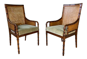 Pair of Cane Back Faux Bamboo Arm Chairs by Palecek