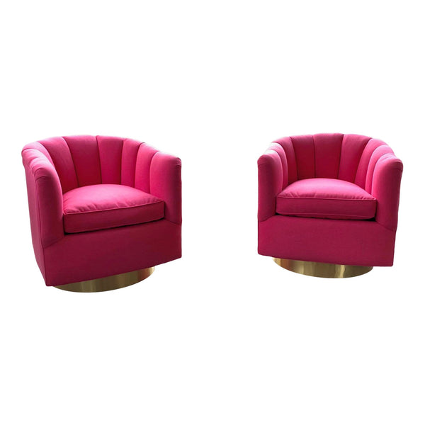 Pair of Channel Tufted Swivel Club Chairs in the Manner of Milo Baughman