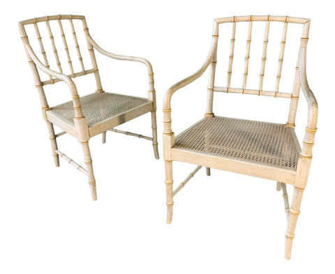 Pair of Faux Bamboo Cane Seat Arm Chairs