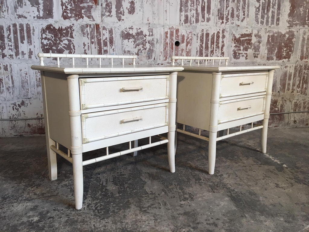 Pair Of Faux Bamboo Nightstands By Thomasville
