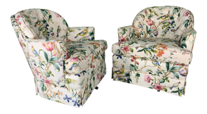 Pair of Floral Upholstered Swivel Club Chairs