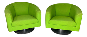 Pair of Green Upholstered Club Chairs in the Manner of Milo Baughman