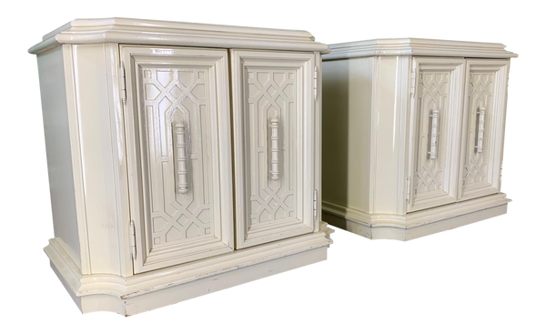 Pair of Heavy Nightstands in Chinoiserie Style
