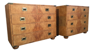 Pair of Henredon Burl Wood Campaign Dressers