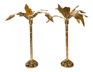 Pair of Hollywood Regency Gold Gilt Metal Palm Tree Sculptures