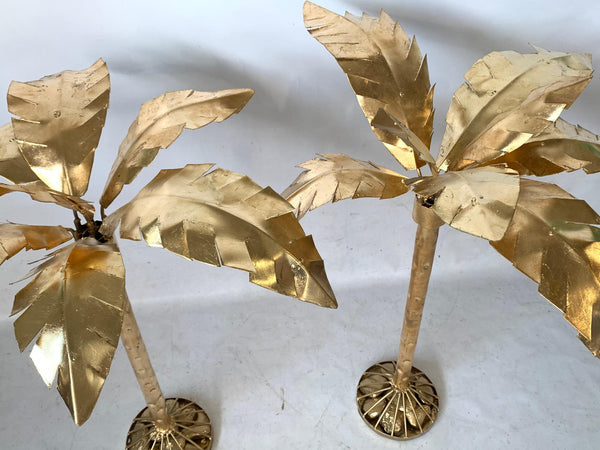 Pair of Hollywood Regency Gold Gilt Metal Palm Tree Sculptures top view