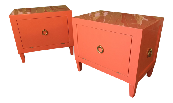 Pair of Hollywood Regency Lacquered Nightstands