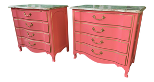 Pair of Pink Lacquered Marble-Top French Provincial Dressers by John Widdicomb