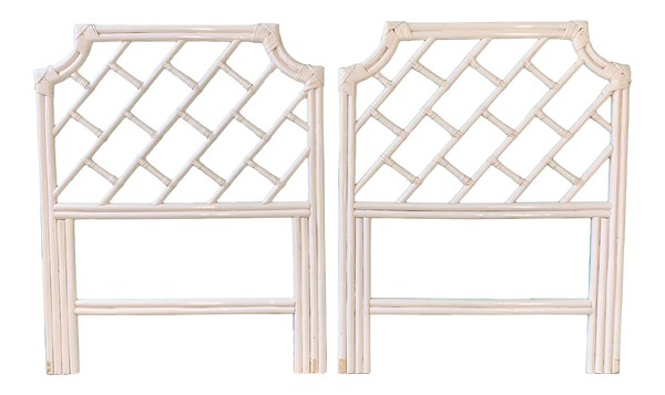 Pair of Rattan Chinese Chippendale Twin Headboards