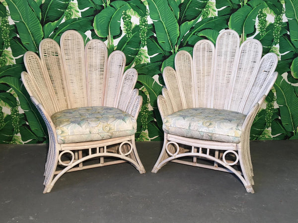 Pair of Rattan Wicker Peacock Fan Back Armchairs front view