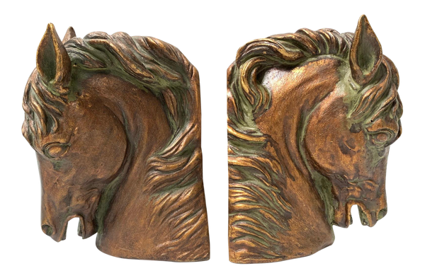 Pair of Sculptural Bronze Horse Head Bookends