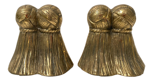 Pair of Solid Brass Tassel Bookends