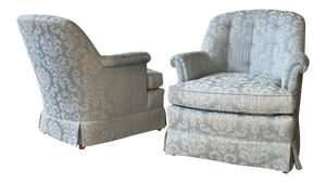 Pair of Swivel Club Chairs by Henredon