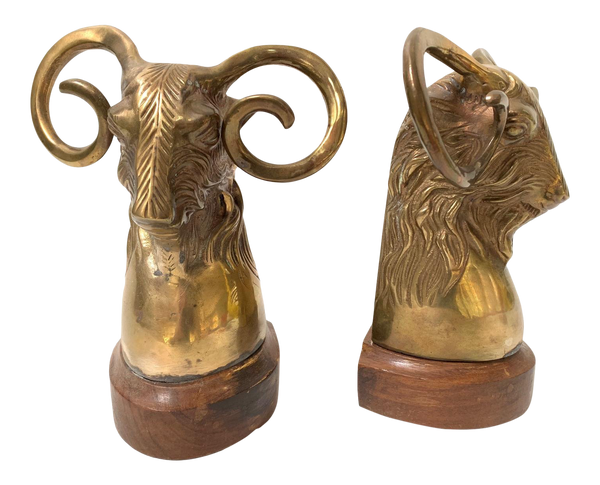 Pair of Vintage Brass Rams Head Bookends