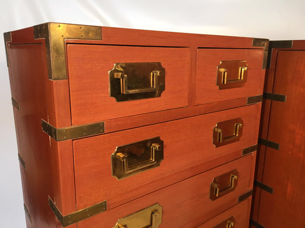 Vintage Rosewood Campaign Dressers close up