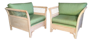 Pair of Wicker Tuxedo Chairs by Henry Link for Lexington