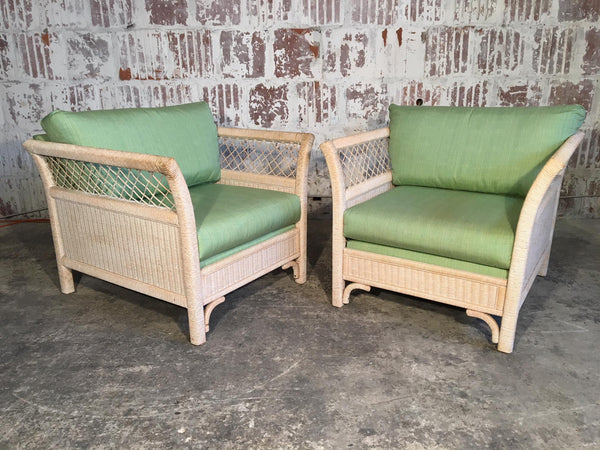 Wicker Tuxedo Chairs by Henry Link for Lexington