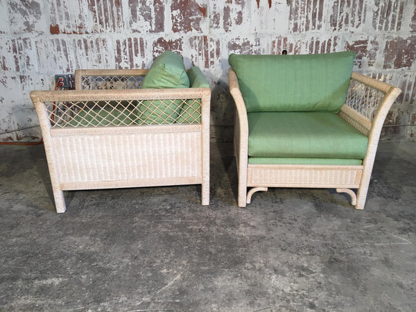Pair of Wicker Tuxedo Chairs by Henry Link for Lexington side view