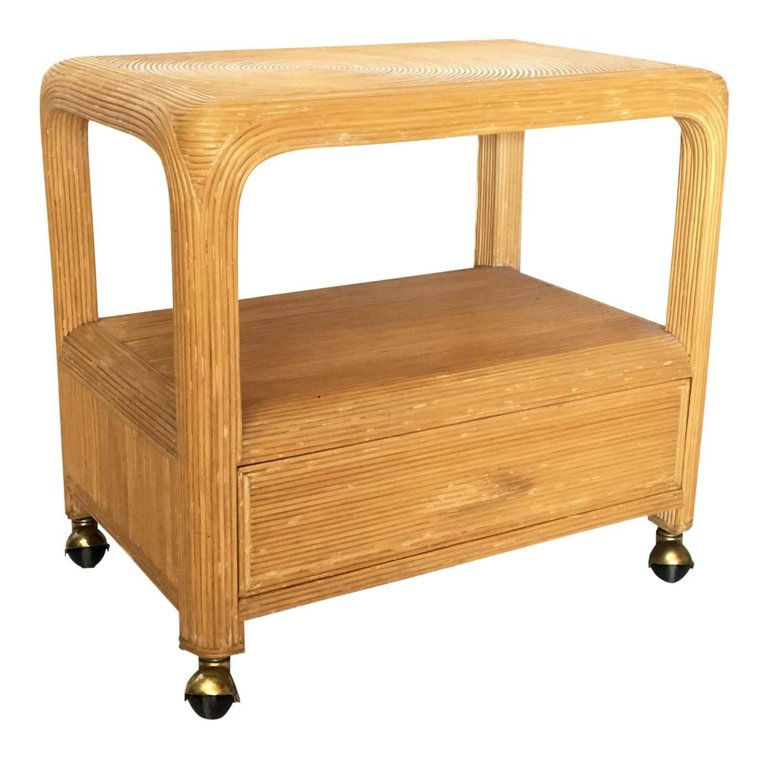 Palm Beach Pencil Reed Rattan Rolling TV Cart