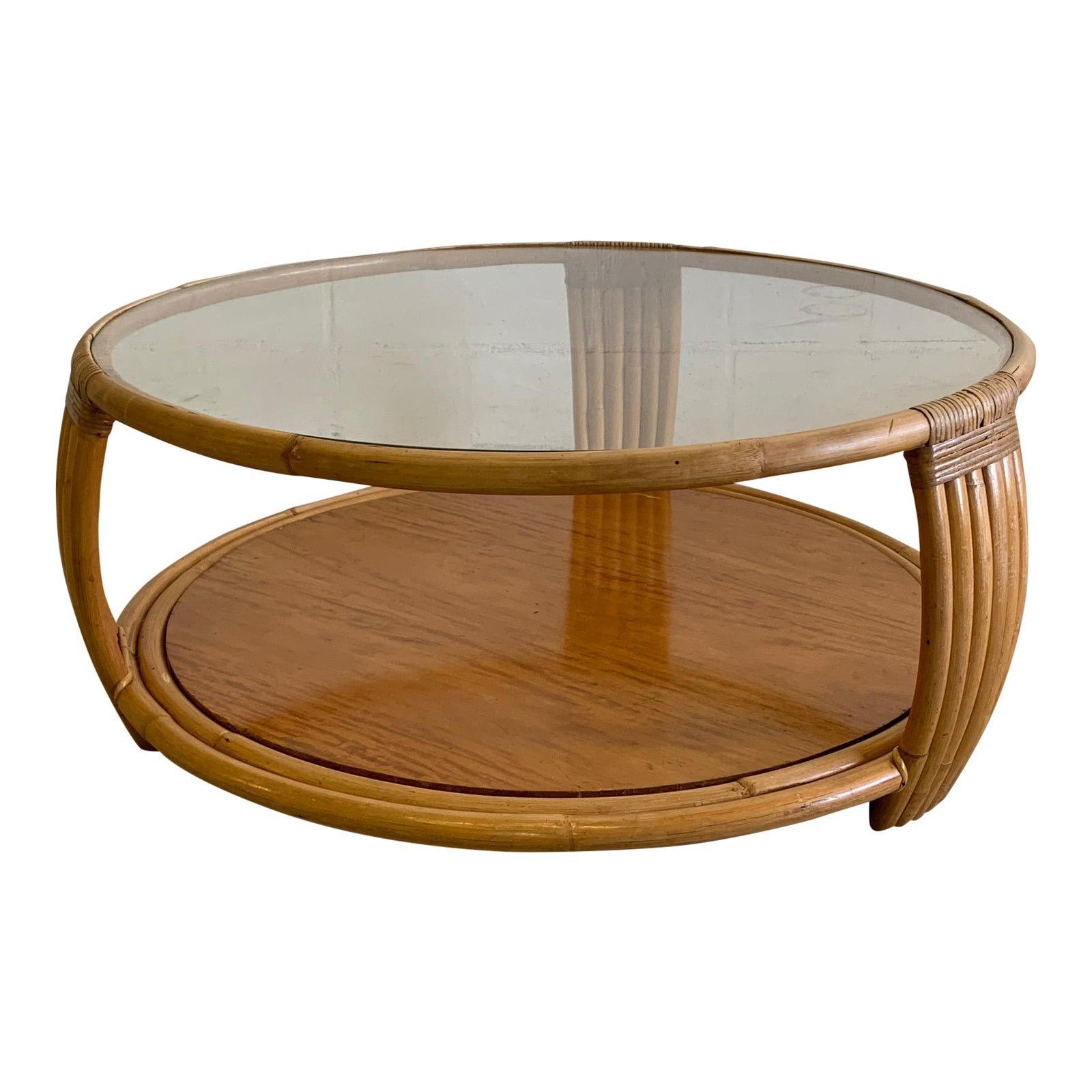 Paul Frankl Style Rattan Round Coffee Table