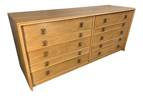 Paul Frankl Ten Drawer Dresser Circa 1950s by Johnson Furniture