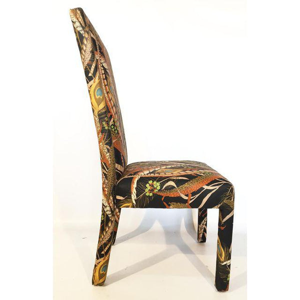 Set of 8 Peacock Print Upholstered Dining Chairs After Milo Baughman