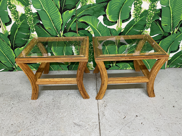 Pencil Reed Rattan and Glass End/Side Tables, a Pair top view