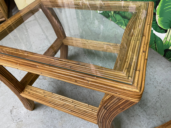Pencil Reed Rattan and Glass End/Side Tables, a Pair close up