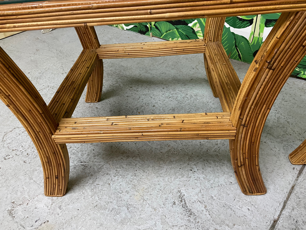 Pencil Reed Rattan and Glass End/Side Tables, a Pair