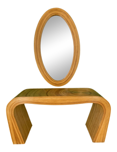 Pencil Reed Rattan Console Table and MIrror After Gabriella Crespi