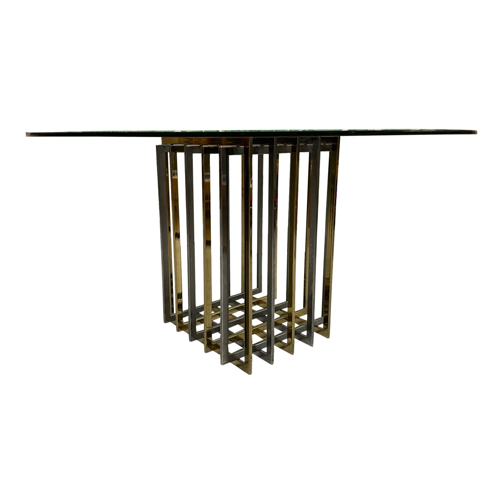 Pierre Cardin Chrome and Brass Brutalist Cube Dining Table